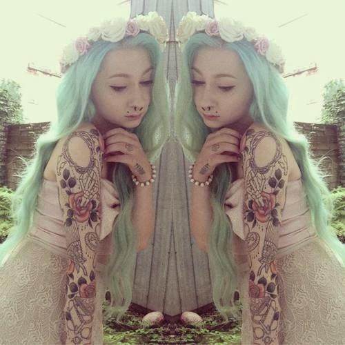 mint green girl hair alternative hair dye inspiration mermaid tattoos floral crown headband piercings altgirl beautiful pretty