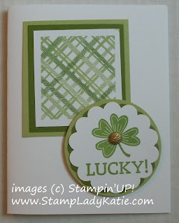 St Patrick's Day Card made with Stampin'UP! sets: Beyond Plaid and Lucky Day