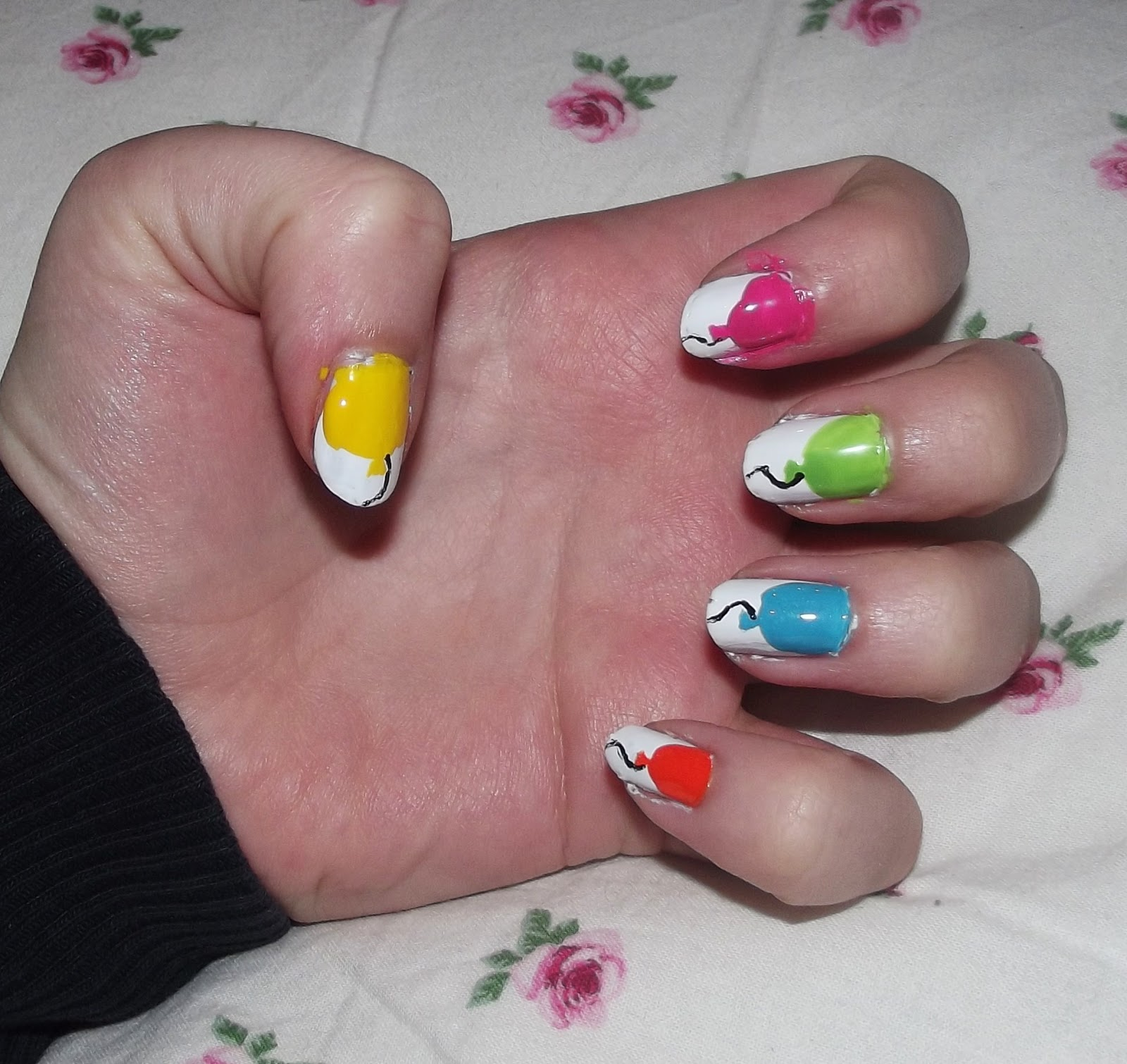 Heres one i made earlier nails on sunday this week i decided to re create a balloon nail art that i spotted on pinterest this is a relatively easy design but you will need a steady hand and the prinsesfo Choice Image