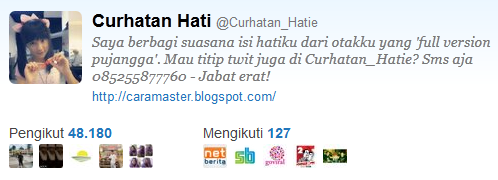 Akun Twitter @Curhatan_Hatie Dijual murah