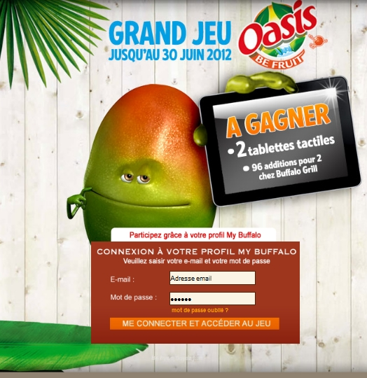 Grand Jeu Oasis 100% gagnant: 2 tablettes tactiles + 96 additions pour 2 chez Buffalo Grill + boissons Oasis gratuites bon plan oasis bon plan buffalo grill