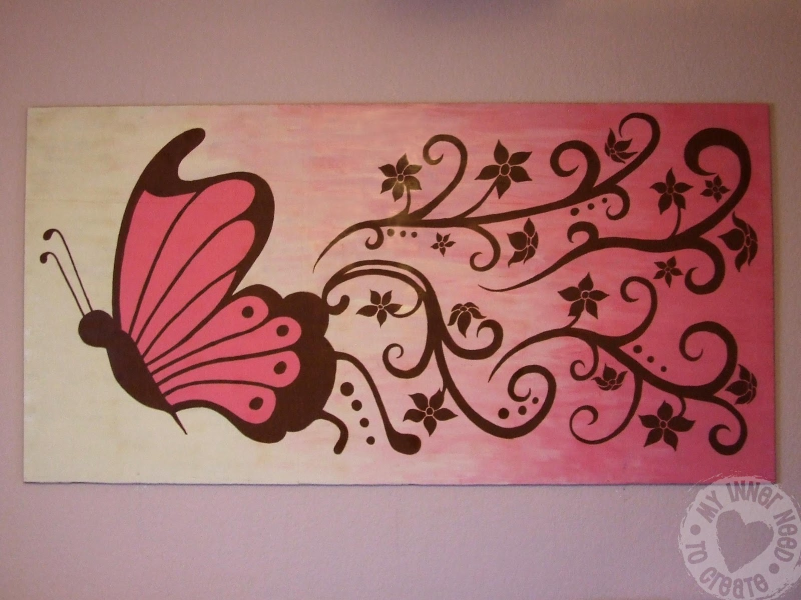 My inner need to create brown and pink butterfly and for Butterfly mural