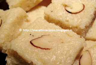 Dessicated Coconut Barfi Recipe in marahti