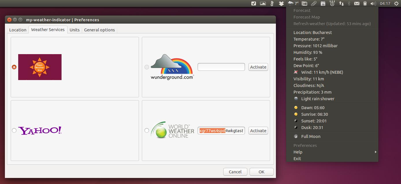 Google themes ubuntu 14.04 - My Weather Indicator