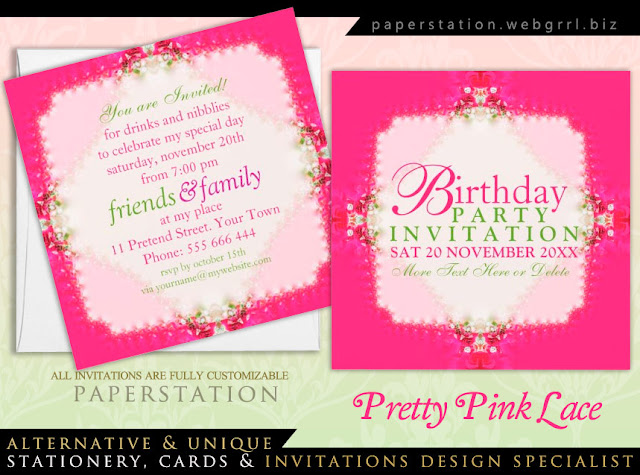Pretty Girl Pink Lacy Birthday Party Invitations ...