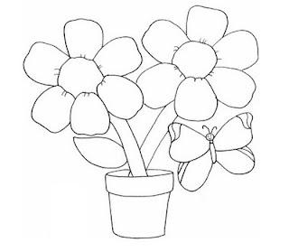 Desenhos Preto e Branco Girassol e flor    Colorir