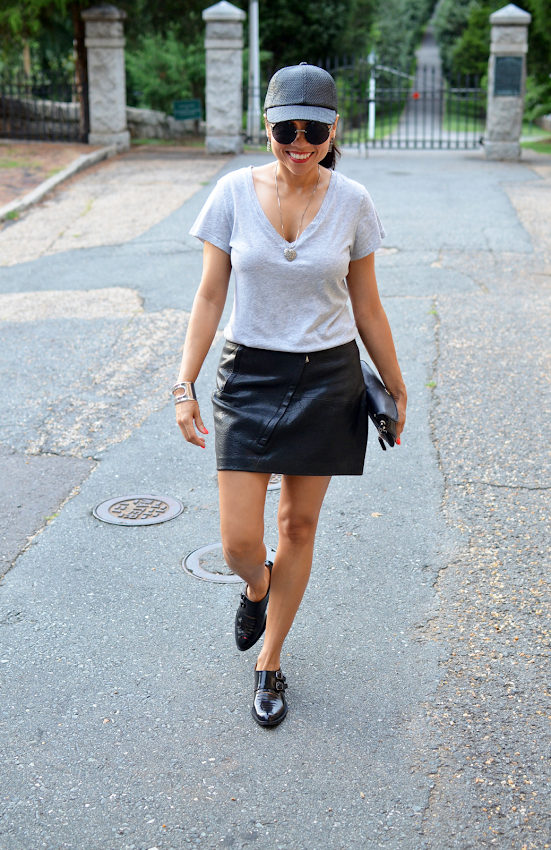 WEARING LEATHER SKIRT