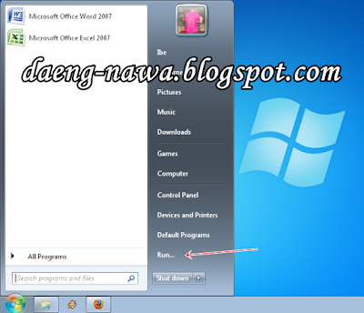 Menu Run - Memunculkan Run di Start Menu Windows 7