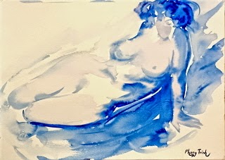 Fabulous Watercolor Painting Figures, Female Nude Original Available for Sale