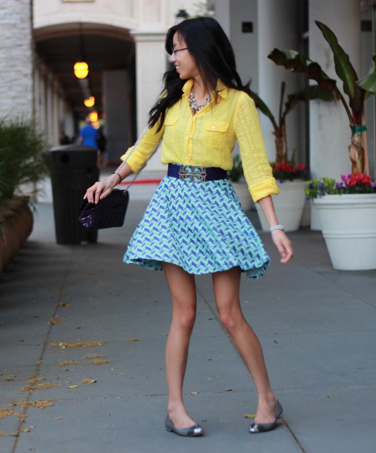 bariii shape pattern blue skirt twirling