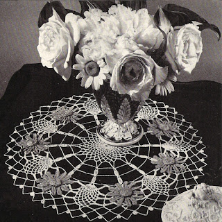 Vintage Blue White Doily Pattern of Blue Aster Flowers and Pineapples