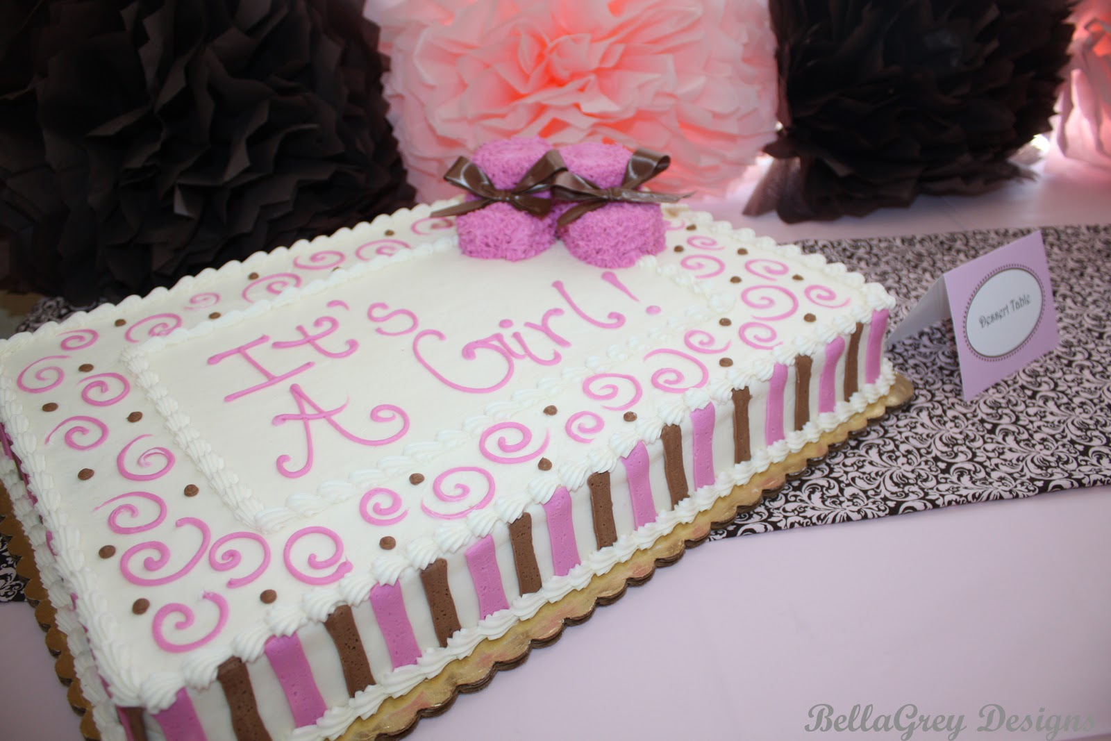 the cake table ~ I made the chocolate and pink runner for the shower ...