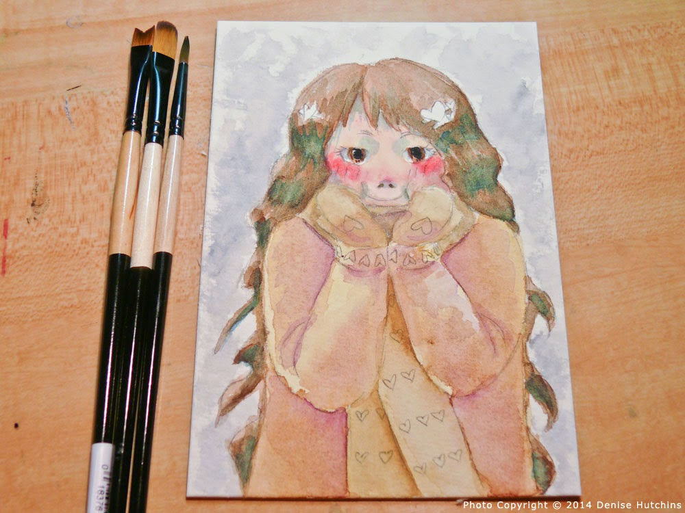 Anime-Style Girl Filled In With Watercolor