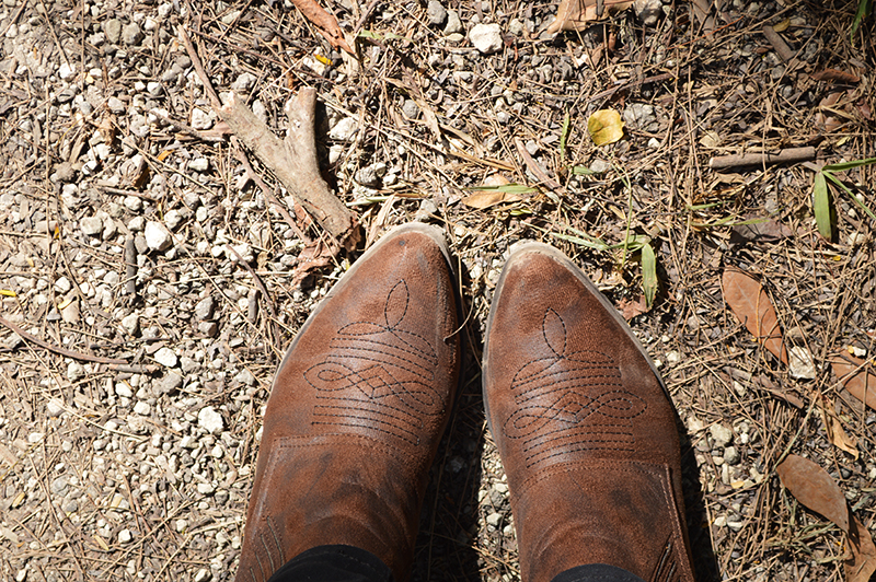 matisse boots in the forest floor