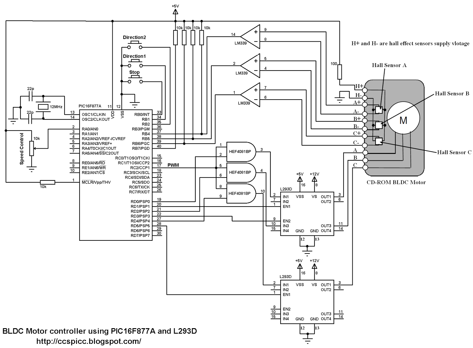 Bldc motor control using pic16f877a and l293d for Schematic diagram of dc motor