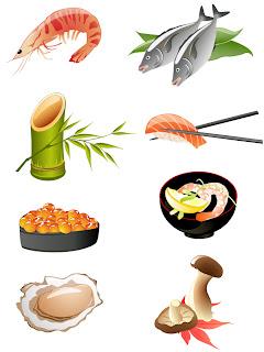 海鮮和食のクリップアート japanese seafood cuisine vector イラスト素材