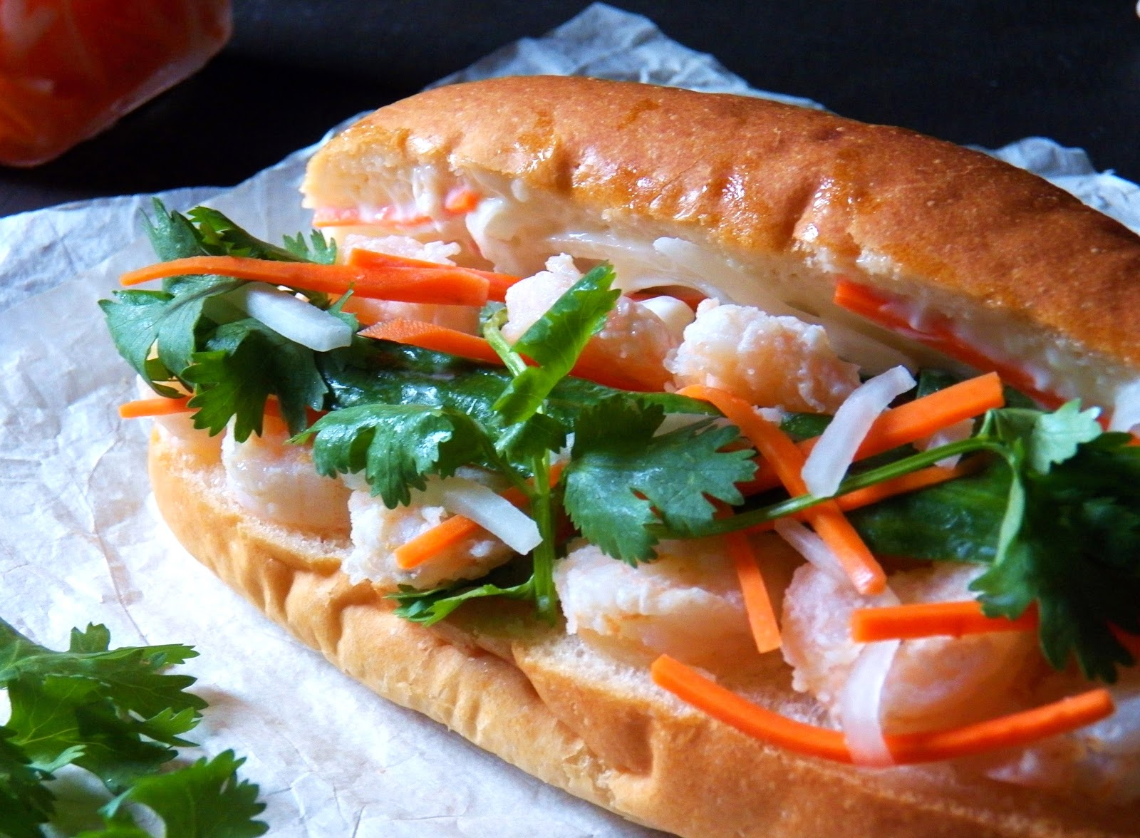 Fried Shrimp Banh Mi (Vietnamese Sandwich)