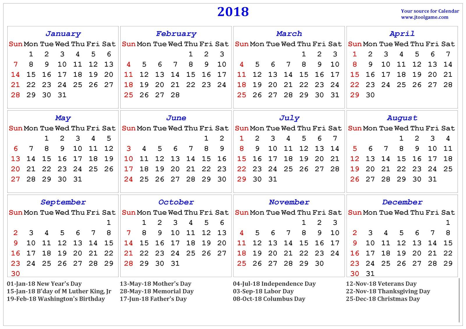 printable 2018 calendar templates