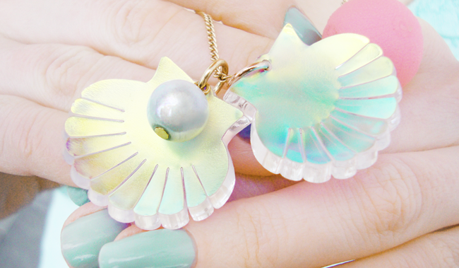 Tatty Devine, shell necklace, shell and peal necklace