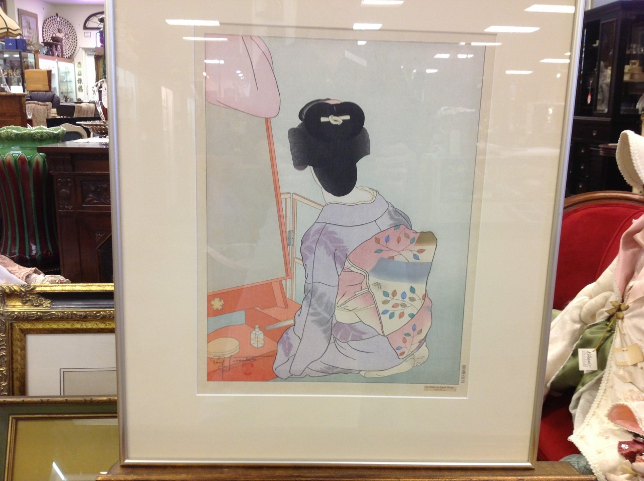 Art gallery paul jacoulet le miroir de laque rouge woodblock for Miroir rouge