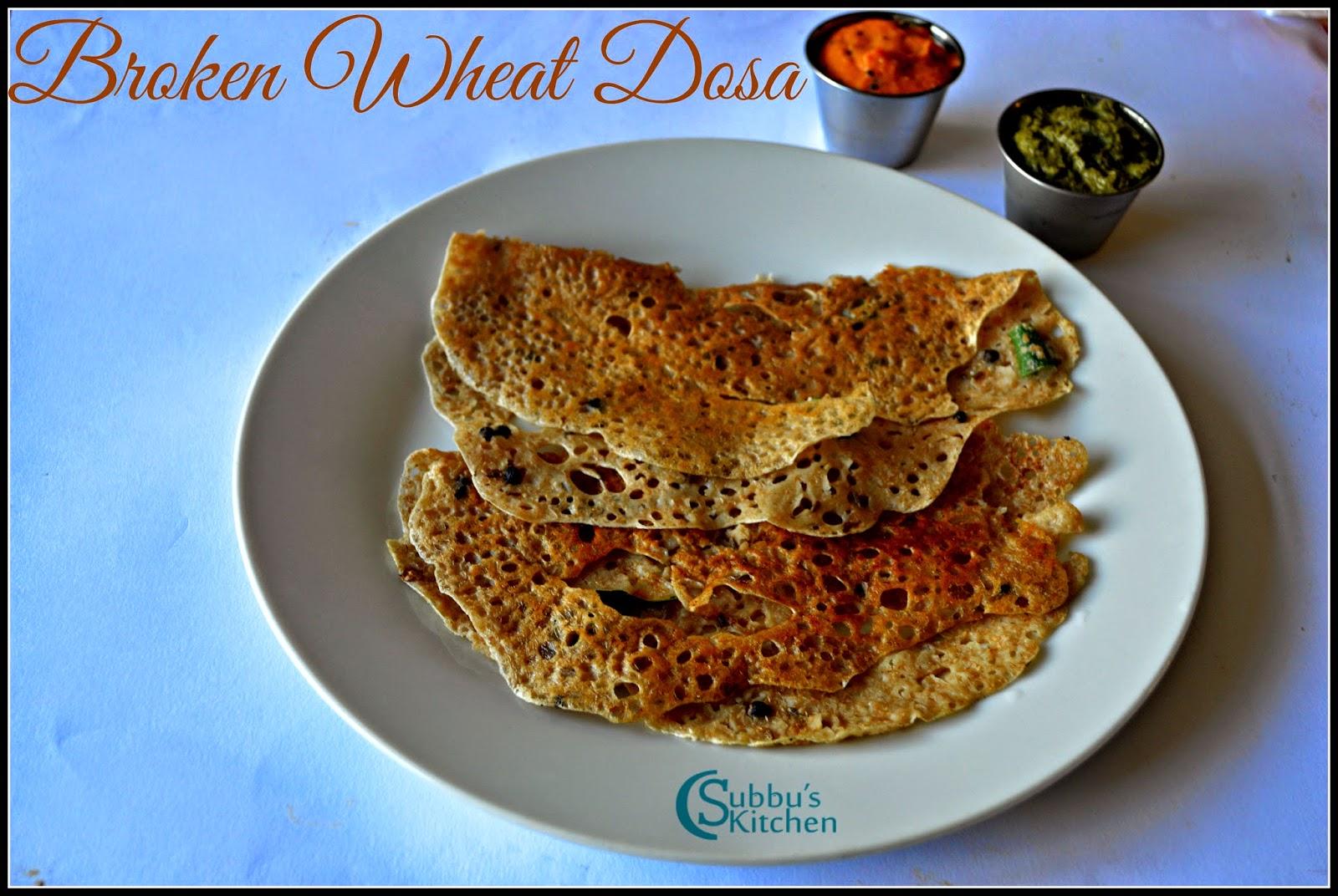 Broken Wheat Dosa Recipe | Samba Godhumai Rava Dosai Recipe | Daliya Dosa Recipe | How to make Broken Wheat Rava Dosa