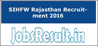 SIHFW Rajasthan Recruitment 2016