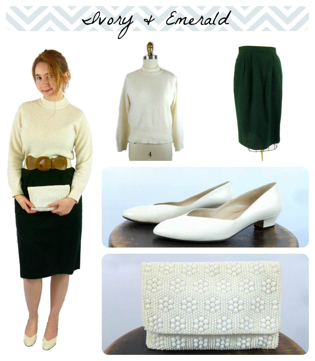 Foxburrow Vintage Ivory and Emerald Outfit