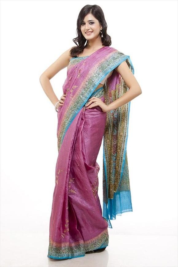 Dull Pink Tassar Banarasi Saree