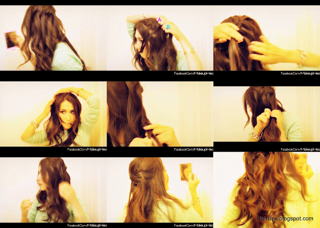 thumbnail+folder1 HOW TO WATERFALL BRAID HAIRSTYLES, FRENCH FISHTAIL BRAID HALF UP UPDO HAIRSTYLE WITH CURLS ON LONG HAIR