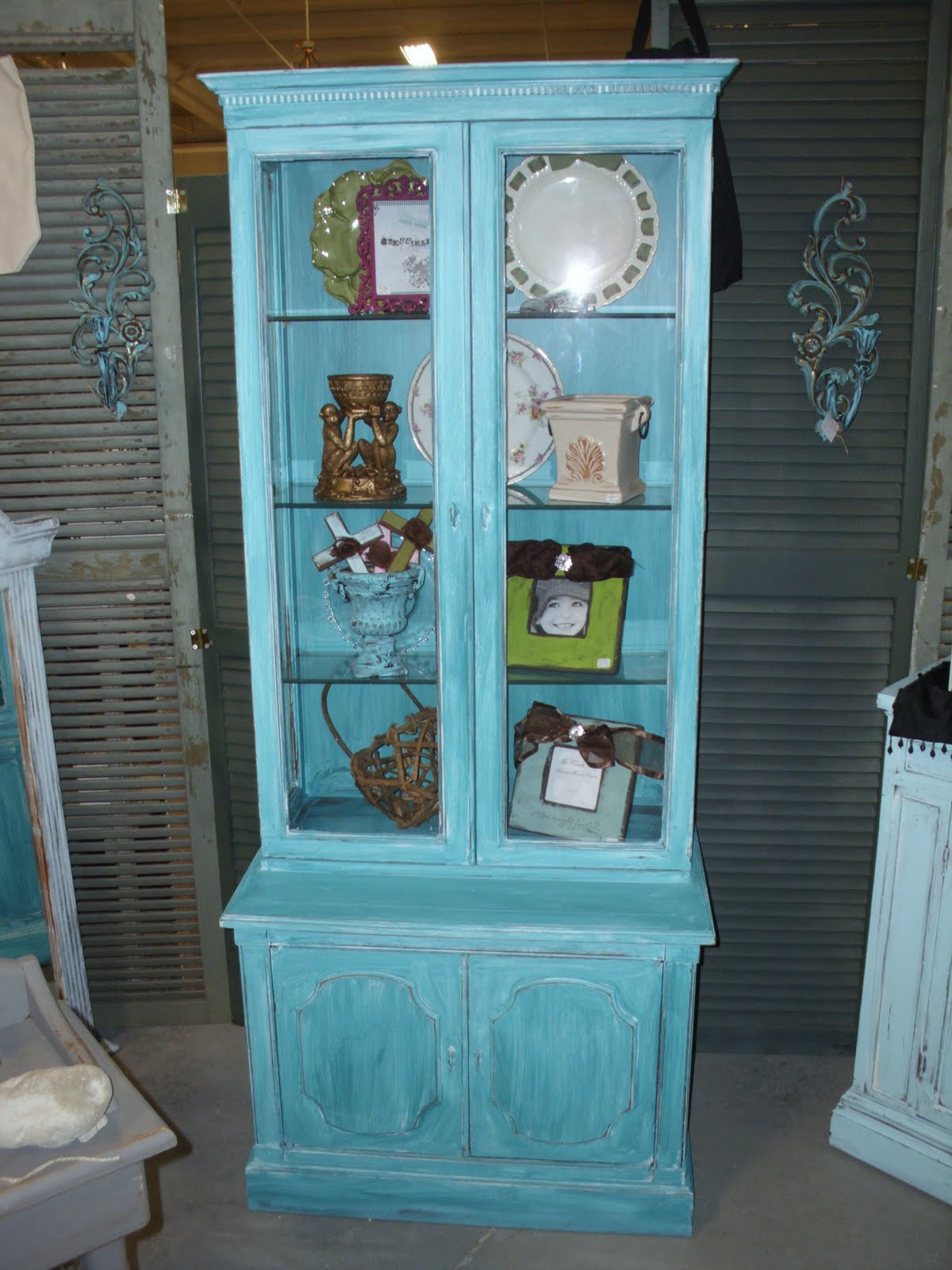 the french flea Turquoise Distressed Petite China Cabinet