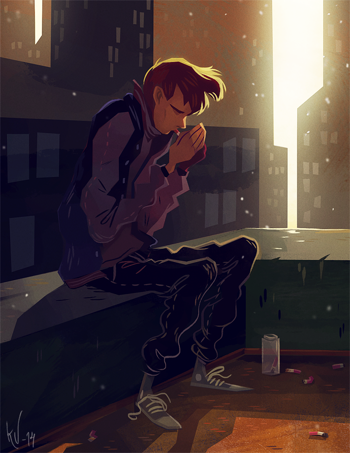 #illustration #painting #digital #drawing #ignite #smoking #cigarette #is #bad #momentary #light #study #city