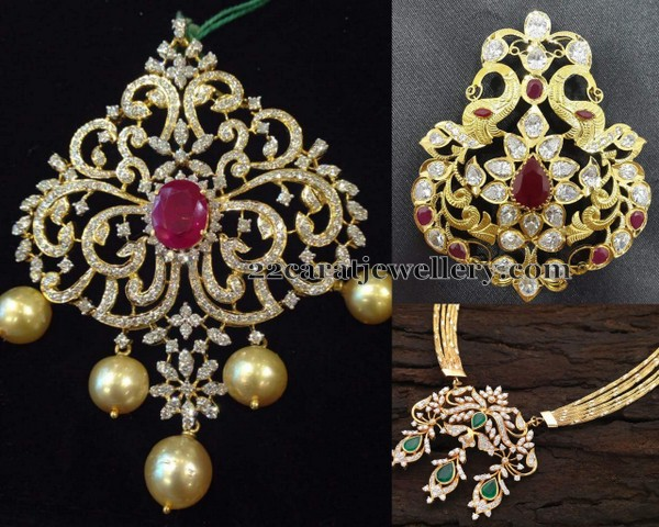 32 grams diamond pendant sets jewellery designs left half moon shaped diamond clasps placed huge classic pendant with 18 carat yellow gold metal studded with faceted cut round ruby in the center aloadofball Gallery