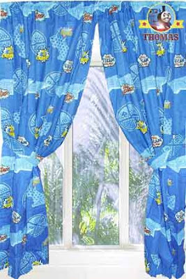 Interior design theme toddler decor pretty Thomas the train curtains and custom draperies for sale