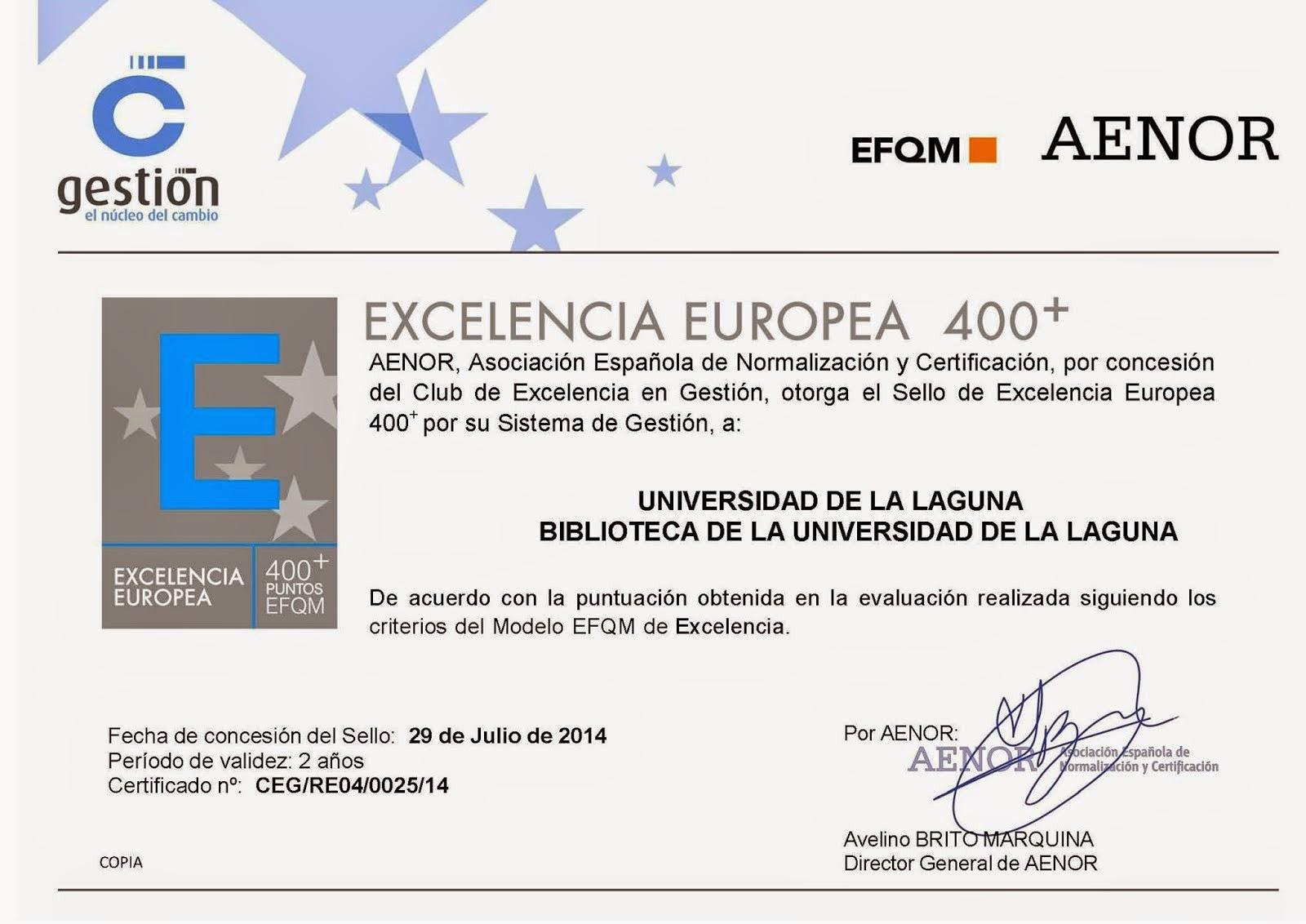 Certificado EFQM 400+
