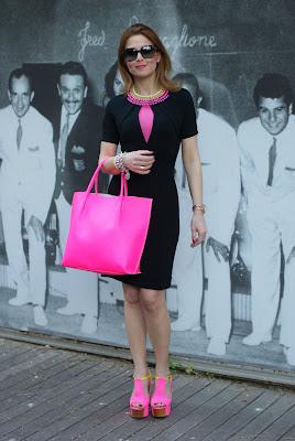 Neon bag, neon shoes, black dress