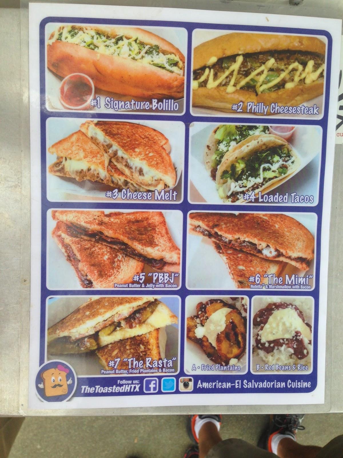 The Toast Houston Food Truck, Menu