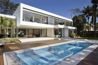 swimming pools and home placement is very precise minimalist design and beautiful landscape