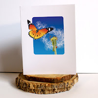 dandelion and butterfly greeting card