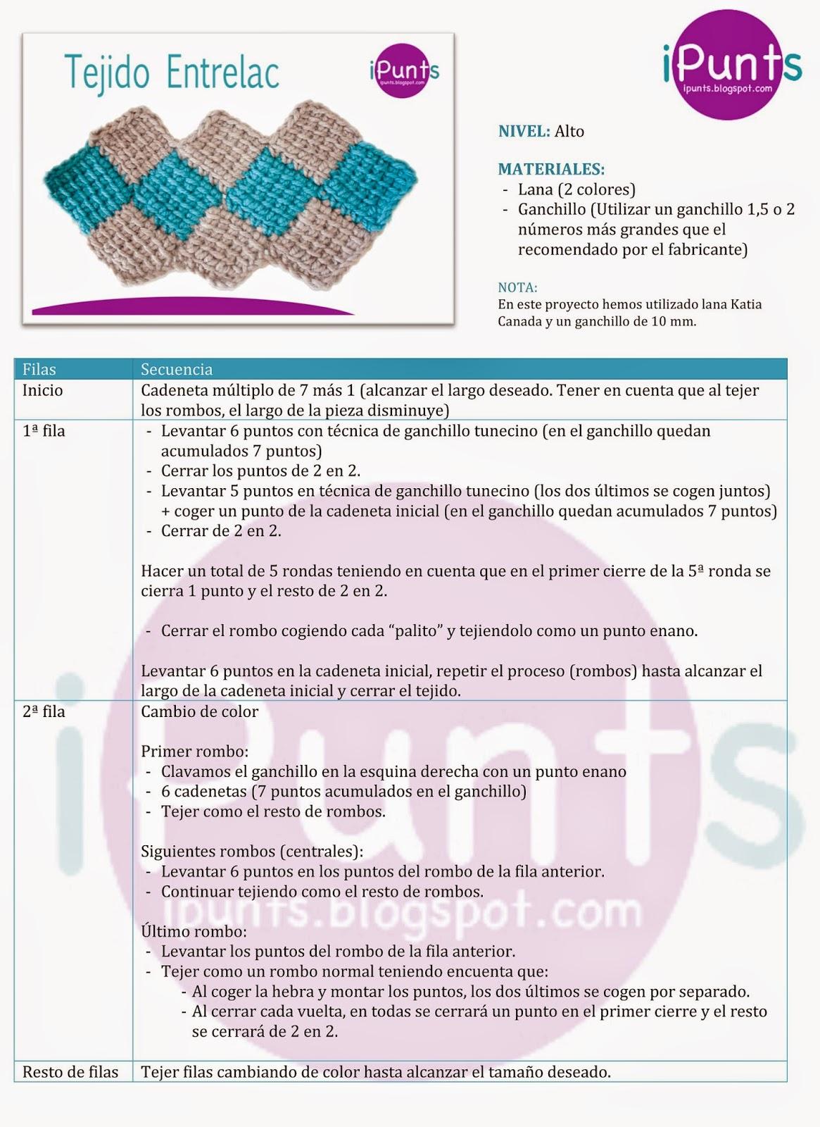iPunts: Tejido Entrelac (rombos) a crochet