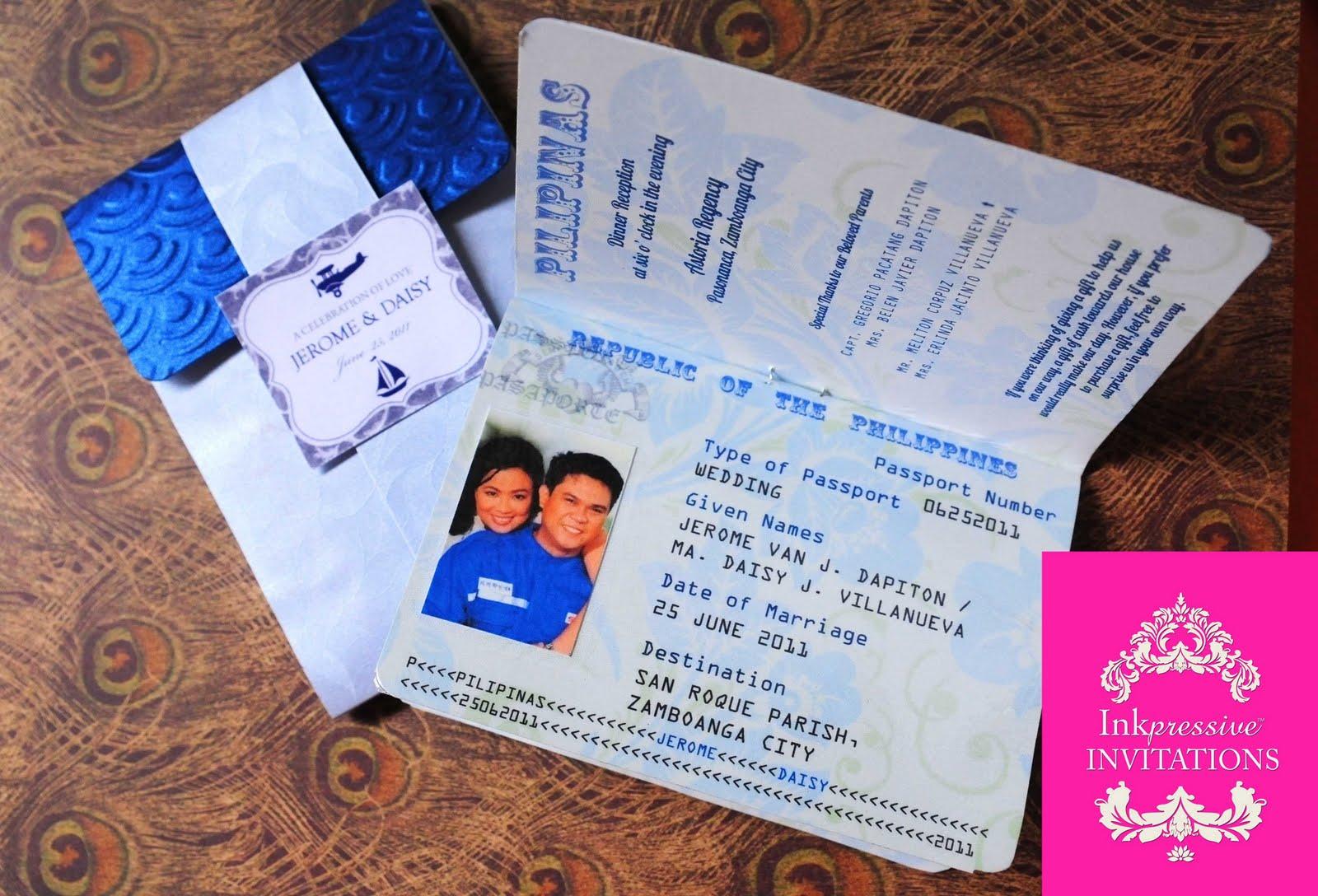 Passport Invitation Blue and Silver INKPRESSIVE INVITATIONS