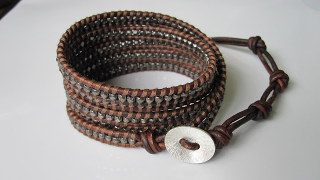 DIY: How To Make Chan Luu Style Men's 5 Wrap Bracelet - Antique Gunmetal Nuggets Wrap Bracelet On Natural Red Brown Leather