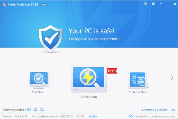 Triple protección con Baidu Antivirus