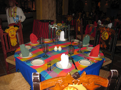 colorful table setting in a Mexican restuarant