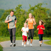 Parent running with kids