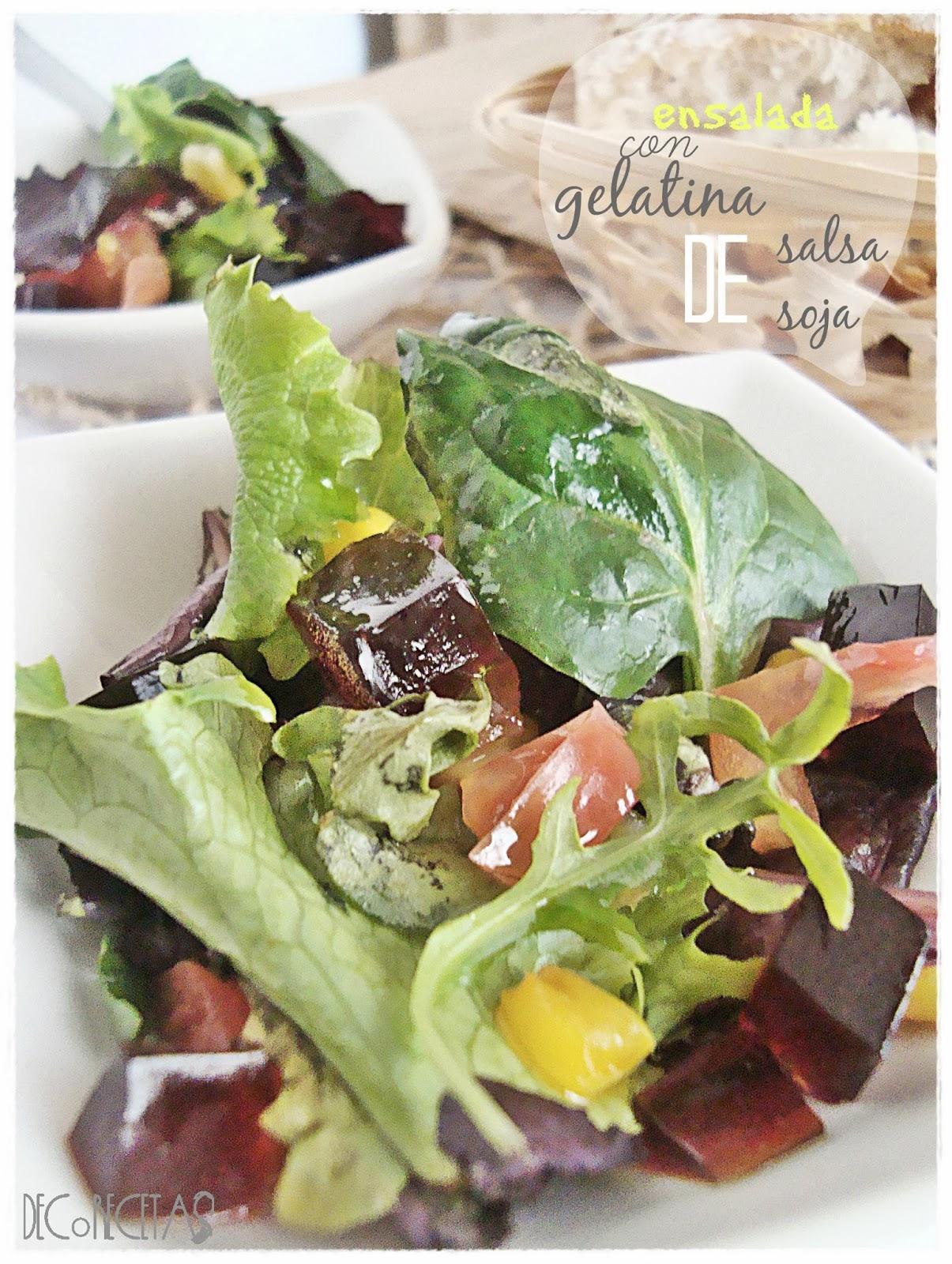 Ensalada con gelatina de salsa de soja