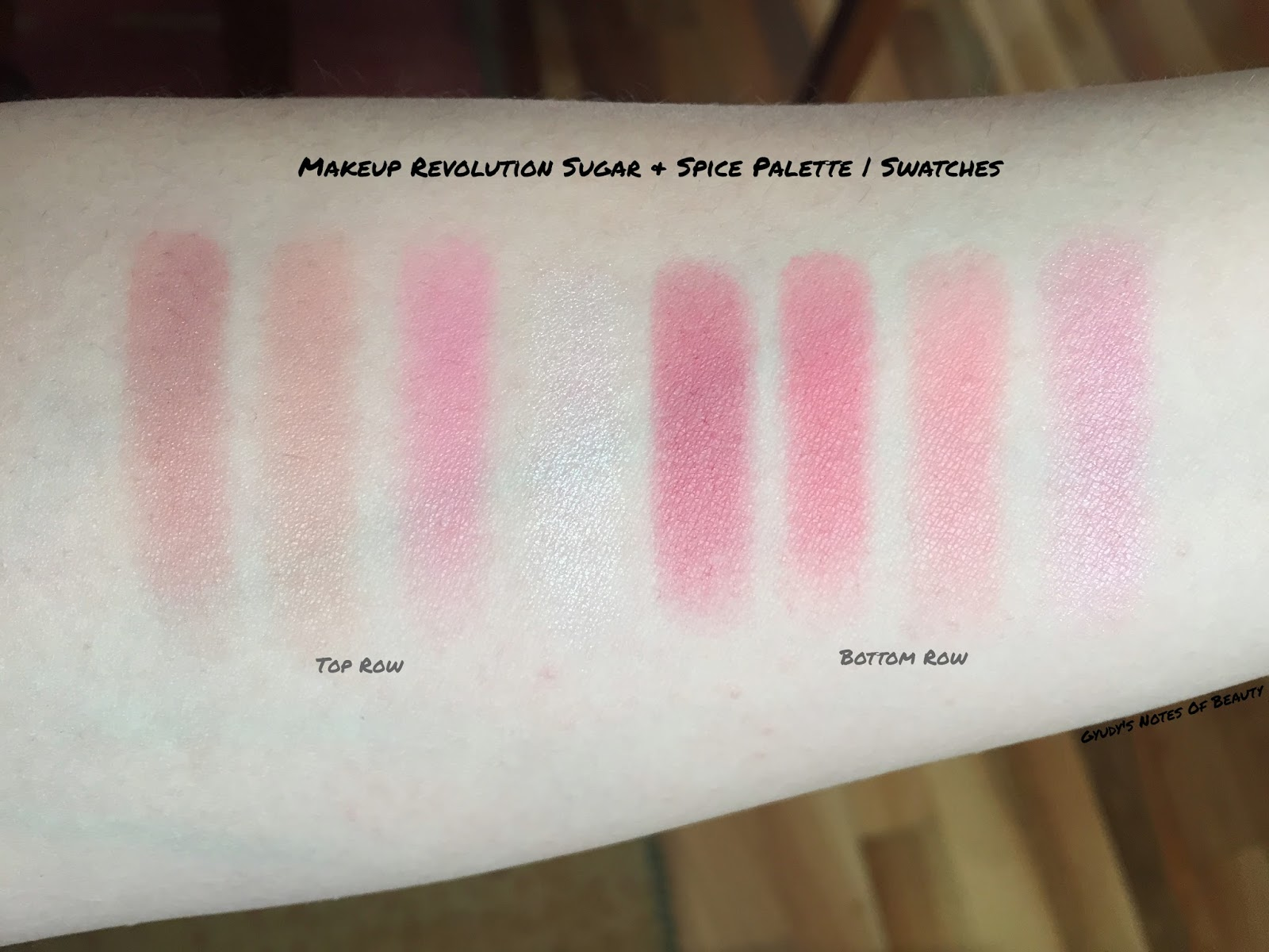 Makeup Revolution Swatches Sugar and Spice Ultra Blush Palette