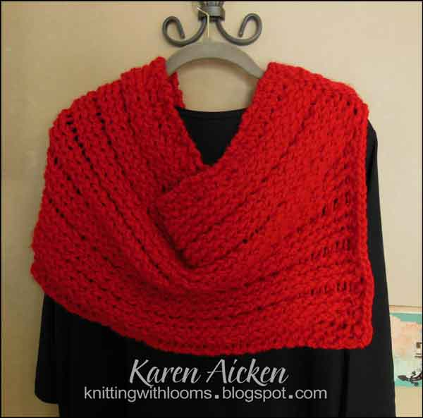 Knitting With Looms Red Shawlponchocowl