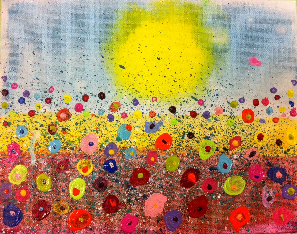 Angela anderson art blog fun splatter floral paintings for Sponge painting for kids pictures