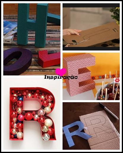 caixa papelão com forma de letras