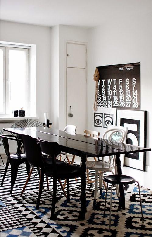 15 comedores decorados en blanco y negro for Comedores modernos color blanco